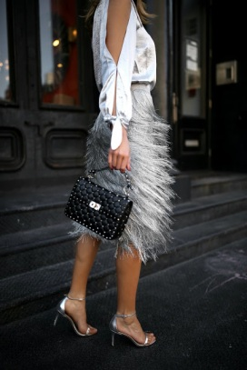 rachel-zoe-silver-fringe-midi-skirt-rebecca-minkoff-metallic-silver-one-shoulder-top-metallic-sandals-top-fall-fashion-trends-classic-sty
