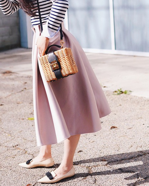 jwh5nb-l-610x610-skirt-basket+bag-tumblr-midi+skirt-pink+skirt-shoes-pink+shoes-pointed+flats-flats-bow+shoes--striped-stripes