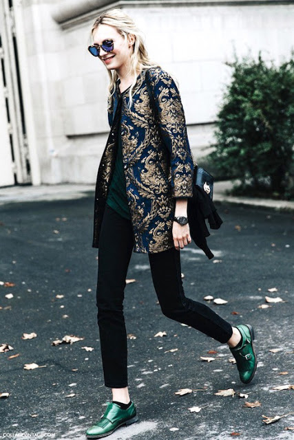 Le-Fashion-Blog-Street-Style-Model-Sunglasses-Brocade-Jacket-Dark-Tee-Sweater-Gunmetal-Watch-Snakeskin-Bag-Skinny-Jeans-Green-Monk-Strap-