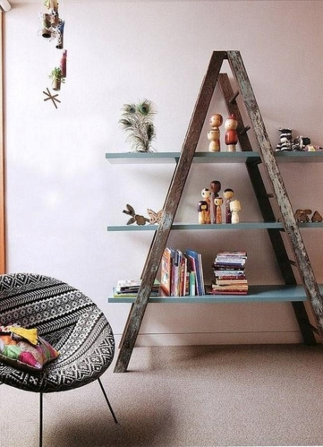 Wooden-Ladder-Bookcase-With-Rustic-Style-Design-Ideas