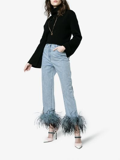feather-trimmed boyfriend jeans.jpg