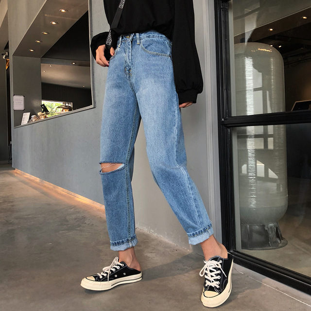Kpop-Harajuku-New-2018-AutumnWinter-Hole-Ripped-Jeans-Woman-AnkleLength-Denim-Pants-Trousers-For-Women-Preppy-Chic-Loose-Jeans-EXID00492-